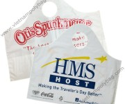 Carrier bags with wave top die cut handle